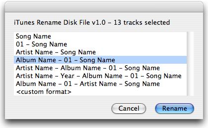 iTunes Rename Disk File